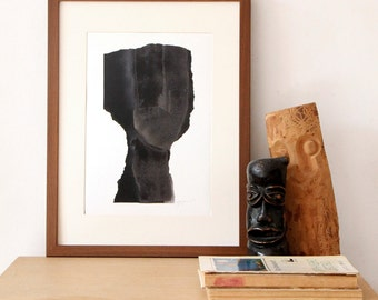 Figurative Black Artwork, Simple Contemporary Art Print, Minimal Abstract Painting in A4
