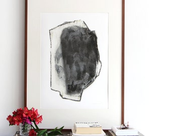 Abstract Huge Art Portrait, Graphite Black Archival Art Print, 20x27 Poster Size Artwork, 27x39
