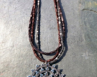 Three Strand Shimmering Hematite Boho Chic Necklace Large Filagree Sterling Disk Necklace