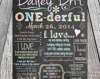 First Birthday Chalkboard Sign Printable -Digital- Baby/Child Growth/Milestones, Boy, Girl, Baby, One-derful