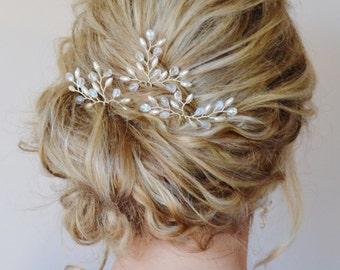 Bridal Hair Accessories, Bridal Hair Pins, Pearl Crystal Hair Pins, Formal Hair Pins, Wedding Hair piece, Grecian Branch Hair Pins, Set of 3