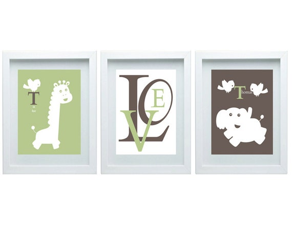 Art Wall Jr Green Jacket : Elephant giraffe nursery decor green brown boy room