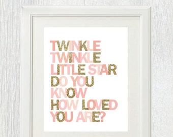 Printable wall art - Twinkle Twinkle Little Star Do You Know How Loved You Are - Pink and gold - Birthday party - Nursery decor - Shower
