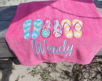 Personalized Beach Towel - Flip Flops Trio