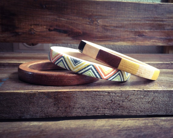 Set of Skinny Bangles, Geometry Dark Wood Bracelets in Mustard, Gold, Copper and Black on Dark Wood, Tribal Bangles