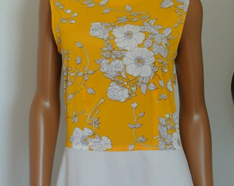 1960s Japanese Day Dress Mod Yellow Floral and White A-line Sheath/M