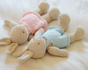 MADE TO ORDER Hand Knitted Bunny Knitted toy Stuffed Animal First Birthday Soft toy Plushie Toddler toys Soft doll Baby gifts Cuddly toy