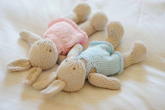 Hand Knitted Toys : Made to order hand knitted bunny toy stuffed animal