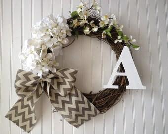 spring door wreath. summer wreath, wreath for summer. monogram wreath, spring wreath, door wreath.personalized.