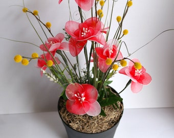 Red and White Blossoms Floral Arrangement - Nylon Flowers Arrangement