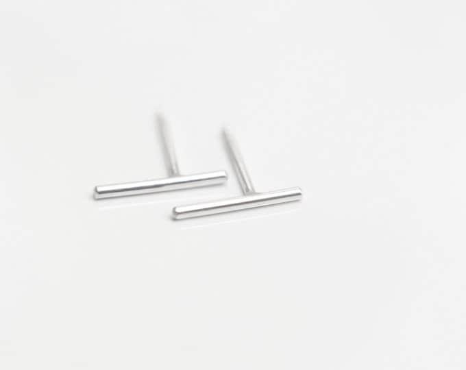 Sterling Silver wire Line Bar Stud Earrings - Sterling silver earrings simple earrings  EE002