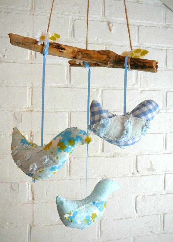 Bird mobile rustic fabric hanging birds nursery decor blue for Bird nursery fabric