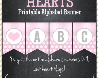 Hearts Printable Alphabet Banner - Instant Download