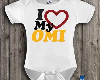 OMI, I love my OMI, cute baby bodysuit, German pride, Grandma, By BlueFoxApparel