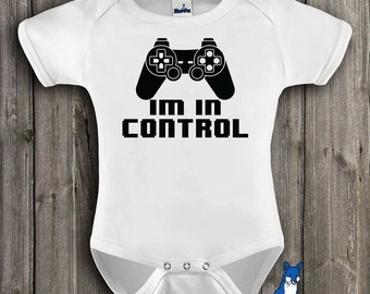 Funny Baby, Bodysuit, Im in control, cute baby clothing, geekery approved, By BlueFoxApparel *029