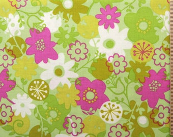 Erin McMorris fabric Flower Shower EM11 Fuchsia green pink floral 100% Cotton Fabric Sewin Quilting fabric by the yard freespirit