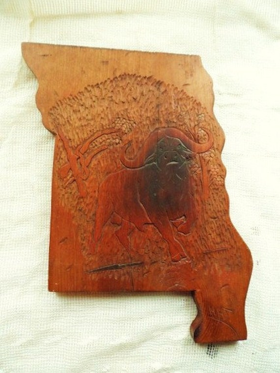 Hand carved wood missouri shaped wooden plaque by hadley