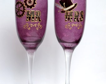 Alternative wedding - personalised mr and mrs gift, mr and mrs glasses, steampunk wedding, champagne flutes, champagne glasses