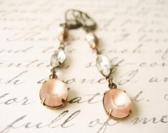 Blush bridal earrings, Wedding jewelery,  Soft pink dangle earrings, Vintage style - ROSE PETAL