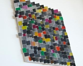 Ripples  Tropical Rain / Original Modern Art /  3D Wall decoration / Wood / Acryl /  Free shipping