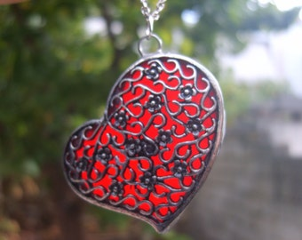 Red Heart Necklace - Stained Glass Heart Pendant Necklace