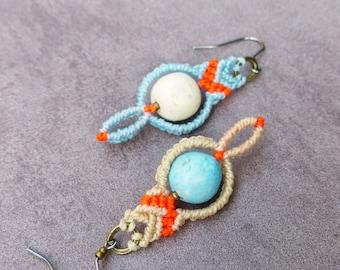 Asymmetric pebbles macrame boho hippie chic earrings blue raw neon orange / french bohemian gipsy style / Hand made in France