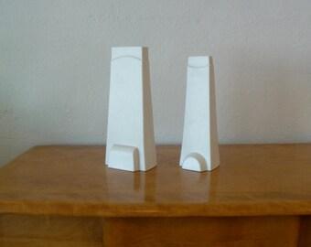 Pair of Geometric White Vases Mid Century Modern Pottery Matte Finish Vase Mid Century Pottery