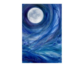 Blue Moon art metal print of acrylic (indigo, purple, green, cobalt, white) Moon art by Kauai, Hawaii fine artist Donia Lilly - Moontides II
