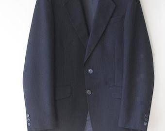 """CLEARANCE! /// Navy blue mens suit. pinstripe 60s suit. Dark blue pinstripe suit pants and jacket. Mad Men suit. Wedding suit. 34"""" waist."""