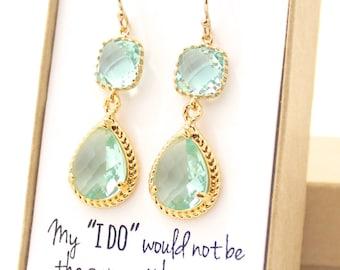 Prasiolite Green / Gold Rope Rim Earrings - Prasiolite, Erinite, Moss, Sage, Pale Green Earrings - Gold Bridesmaid Earring -ER2