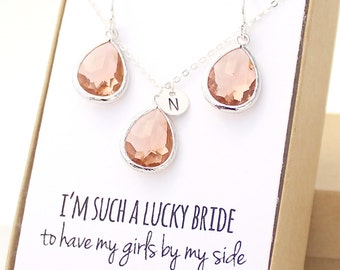 Peach Champagne / Silver Teardrop Necklace Earrings Set - Peach Champagne Bridesmaid Set - Bridesmaid Jewelry Set - Peach Earrings - ENB1