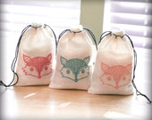 Fox Face favor bags set 15 with stamp gift sack boy birthday party baby shower woodland