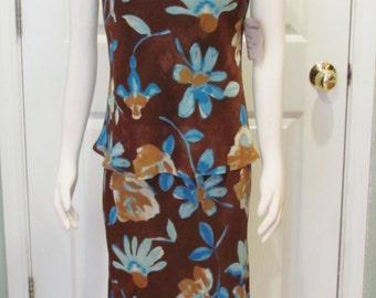 Vintage Dress Vintage Top Vintage Skirt Vintage Clothes Vintage Clothing Womens Clothing Size Large Dress Brown Dress Island Dress Womens