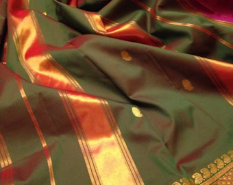 Pink and Green Gold Trimmed Sari