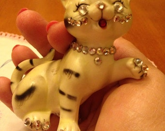 Pretty Porcelain Rhinestone Kitty