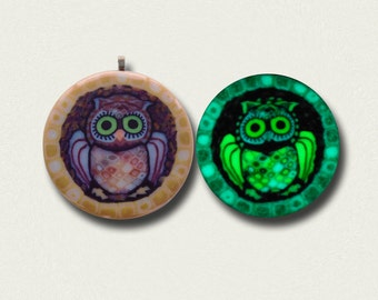 Glow in the dark Owl Pendant  in Ivory, gold and brown EyeGloArts #o1