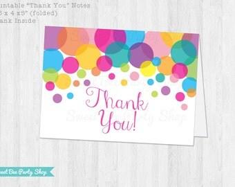 Polka Dot Thank You Card - Printable File - Instant Download - DIY