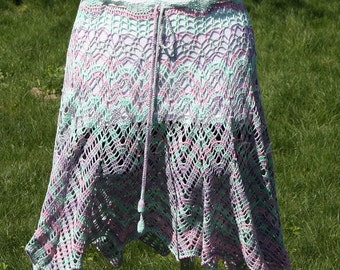 Handknitted beach skirt/mantle - multi color - 100% bamboo -