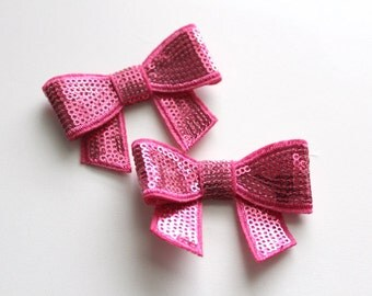 2 Small Sequin Bows--Hot Pink