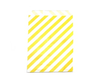 """25 Yellow Striped Favor Bags - 5"""" x 7"""" Wedding Treat Bags, Paper Bags"""