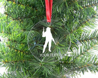 Personalized Custom Pirate With Gun Clear Acrylic Christmas Tree Ornament