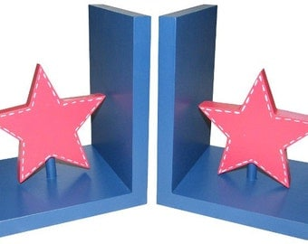 Star Bookends - Wooden Navy and Red Star Bookends