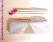 Leather Art Deco // Geometric // Pencil Case // Gold pastel pearl pink Pouch // Cosmetic Bag // Birthday