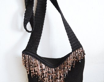 Black Knit bag,purses,bags,beaded purse, Amber Beads, Fringed,Shoulder Bag