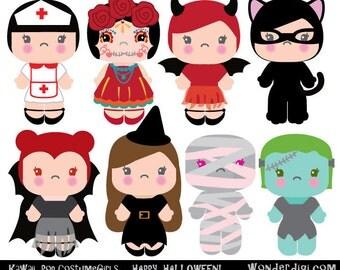 Halloween Clipart - Kawaii Clip art - Costume Girls clipart