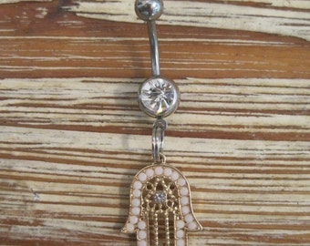 Belly Button Ring - Body Jewelry - White Beaded Gold Hamsa Hand with Clear Gem Stone Belly Button Ring