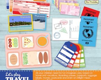 Travel set printable for children's pretend play TRAVEL TEMPLATES