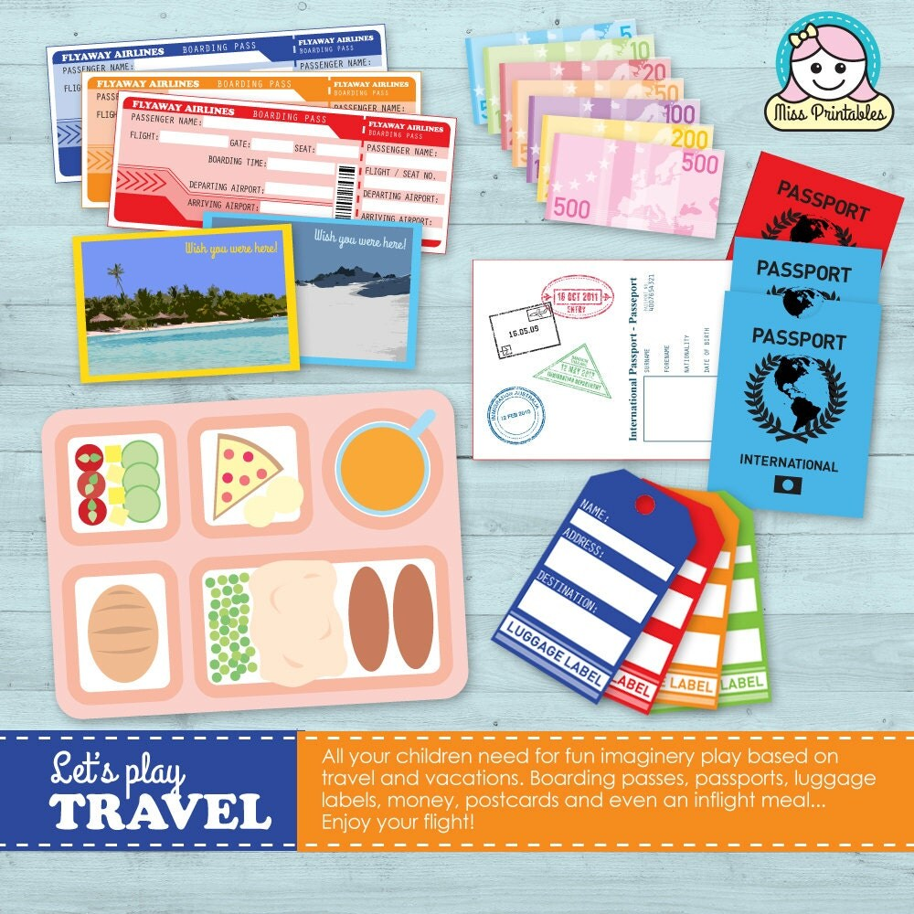 Travel Set Printable For Children S Pretend Play Travel
