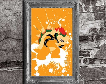 Bowser Splatter - Mario Brothers Inspired - Video Game Art Poster