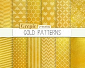"""SALE 50% Gold digital paper: """"GOLD PATTERNS"""" high res gold backgrounds with textures golden hearts, chevron, polkadots, stripes, h"""